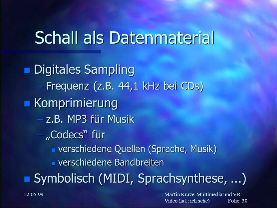 Schall als Datenmaterial