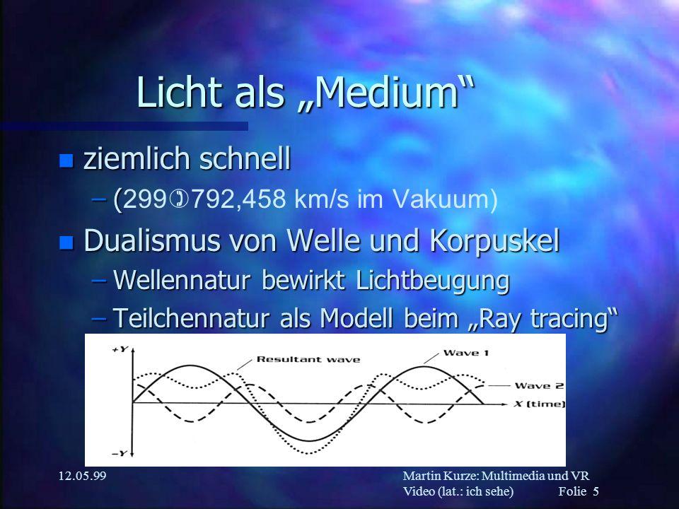 """Licht als """"Medium ziemlich schnell Dualismus von Welle und Korpuskel"""