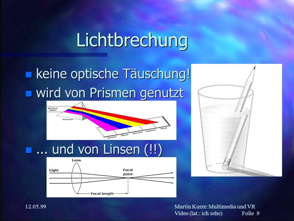 Lichtbrechung keine optische Täuschung! wird von Prismen genutzt