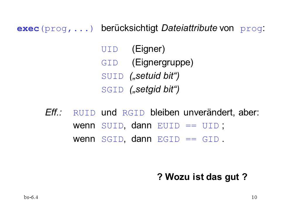 exec(prog,...) berücksichtigt Dateiattribute von prog: UID (Eigner)