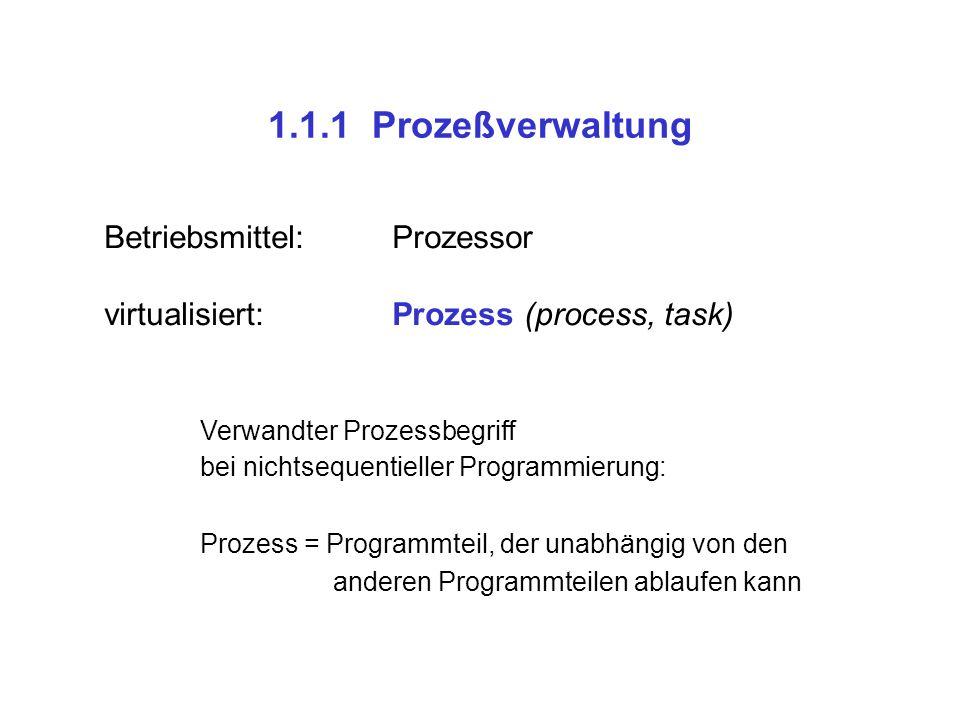 1.1.1 Prozeßverwaltung Betriebsmittel: Prozessor