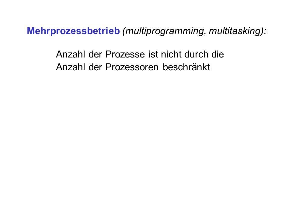 Mehrprozessbetrieb (multiprogramming, multitasking):