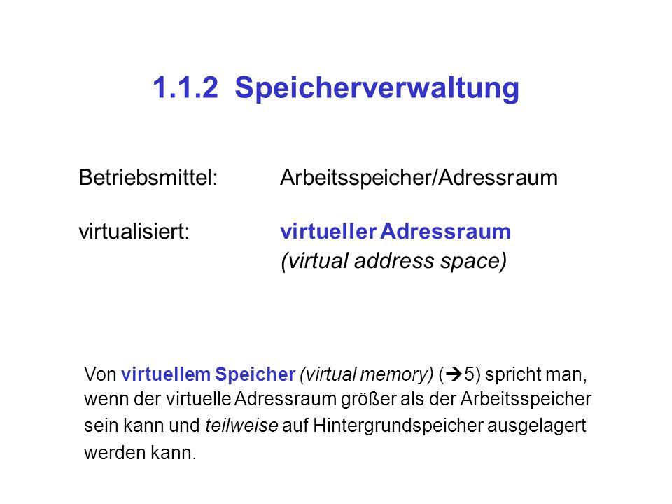 1.1.2 Speicherverwaltung Betriebsmittel: Arbeitsspeicher/Adressraum
