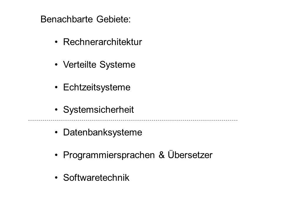 Benachbarte Gebiete: Rechnerarchitektur. Verteilte Systeme. Echtzeitsysteme. Systemsicherheit. Datenbanksysteme.