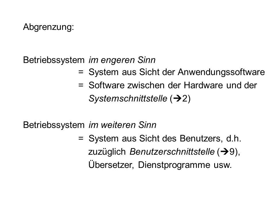 Abgrenzung: Betriebssystem im engeren Sinn. = System aus Sicht der Anwendungssoftware. = Software zwischen der Hardware und der.