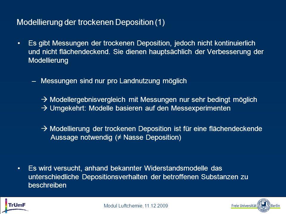 Modellierung der trockenen Deposition (1)