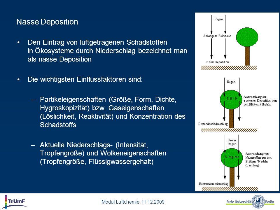 Nasse Deposition Den Eintrag von luftgetragenen Schadstoffen in Ökosysteme durch Niederschlag bezeichnet man als nasse Deposition.