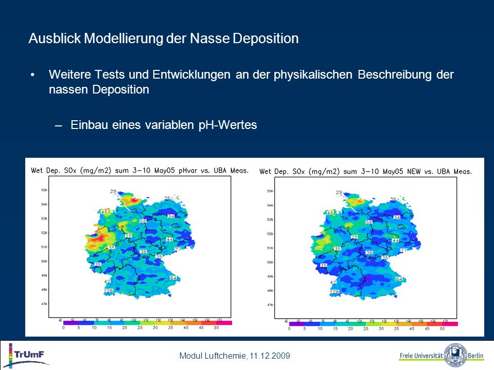 Ausblick Modellierung der Nasse Deposition