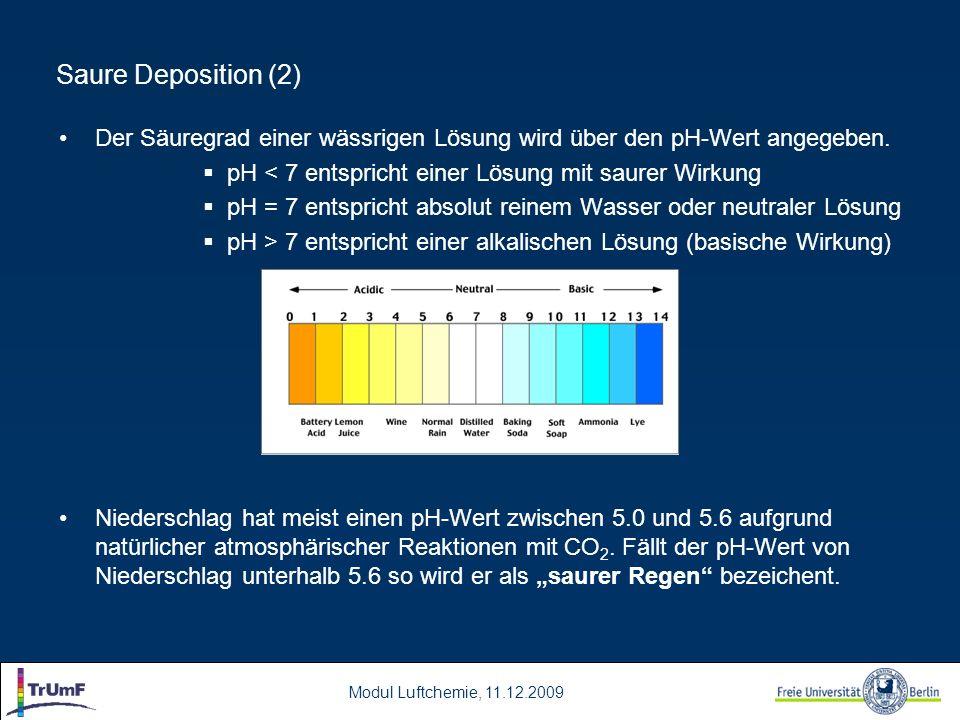 Saure Deposition (2) Der Säuregrad einer wässrigen Lösung wird über den pH-Wert angegeben. pH < 7 entspricht einer Lösung mit saurer Wirkung.
