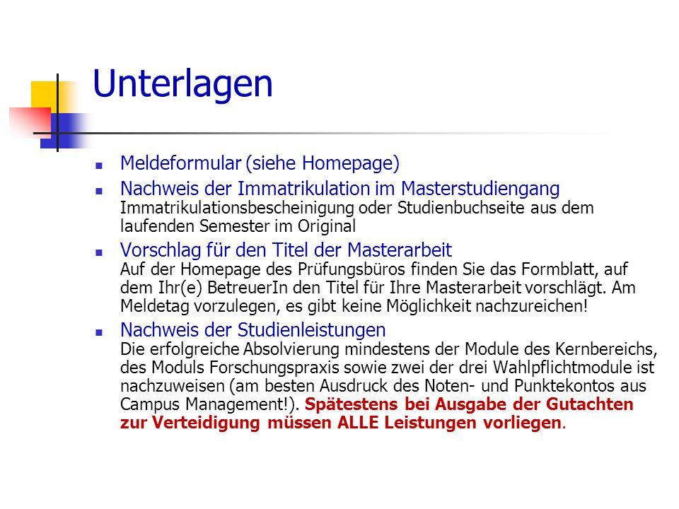 Unterlagen Meldeformular (siehe Homepage)