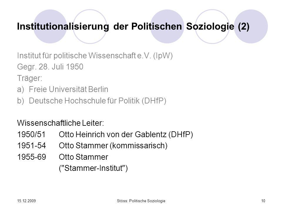 Institutionalisierung der Politischen Soziologie (2)