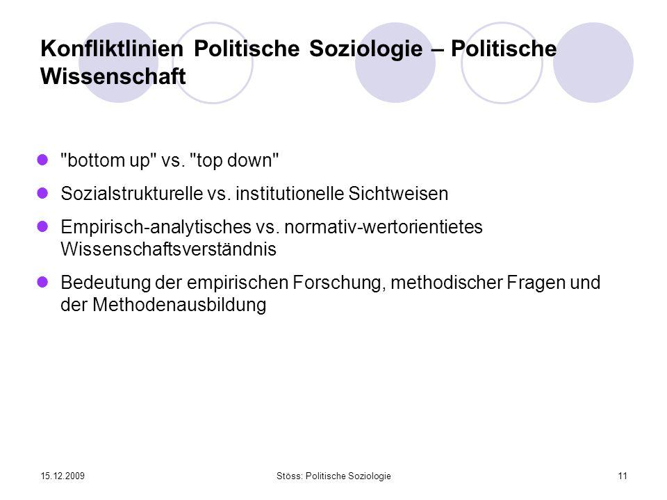 Konfliktlinien Politische Soziologie – Politische Wissenschaft
