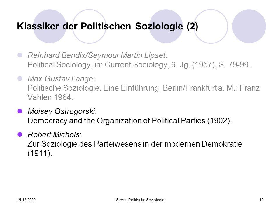 Klassiker der Politischen Soziologie (2)