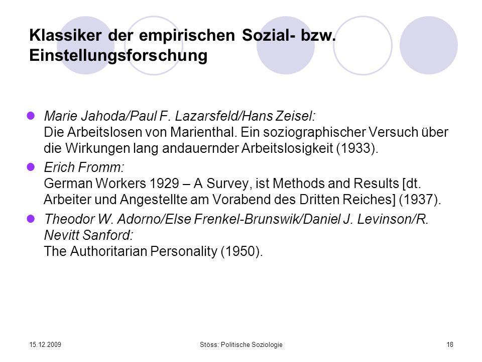 Klassiker der empirischen Sozial- bzw. Einstellungsforschung