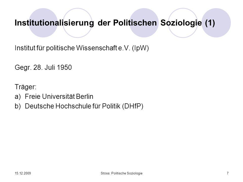 Institutionalisierung der Politischen Soziologie (1)