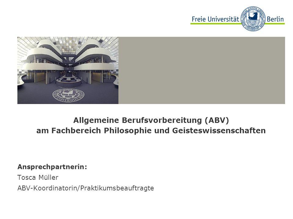 Allgemeine Berufsvorbereitung (ABV) am Fachbereich Philosophie und Geisteswissenschaften
