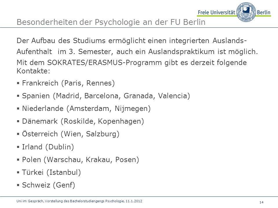 Besonderheiten der Psychologie an der FU Berlin