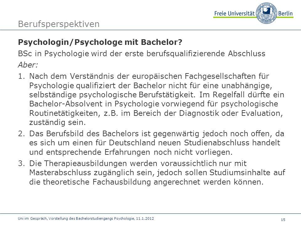 Berufsperspektiven Psychologin/Psychologe mit Bachelor
