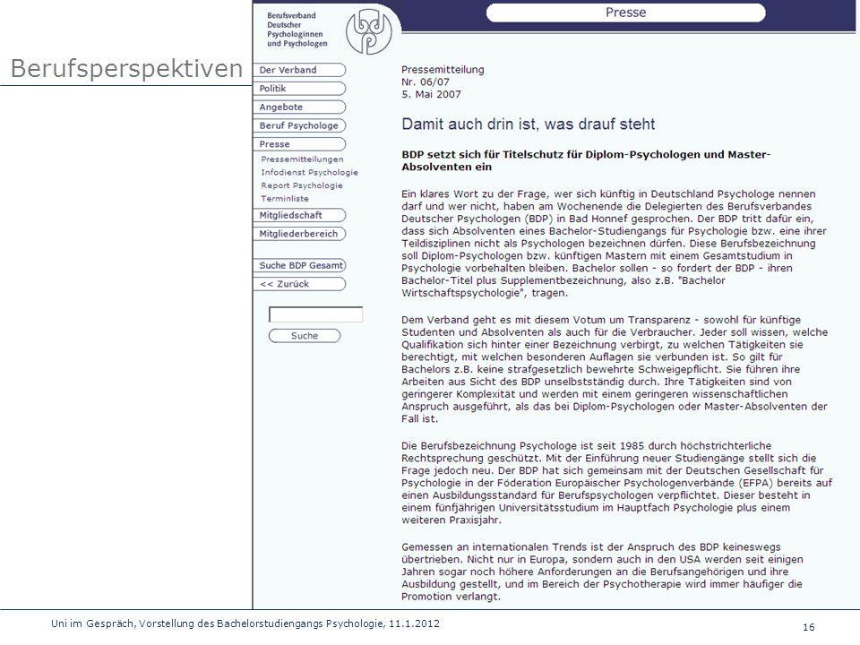 Berufsperspektiven Uni im Gespräch, Vorstellung des Bachelorstudiengangs Psychologie, 11.1.2012