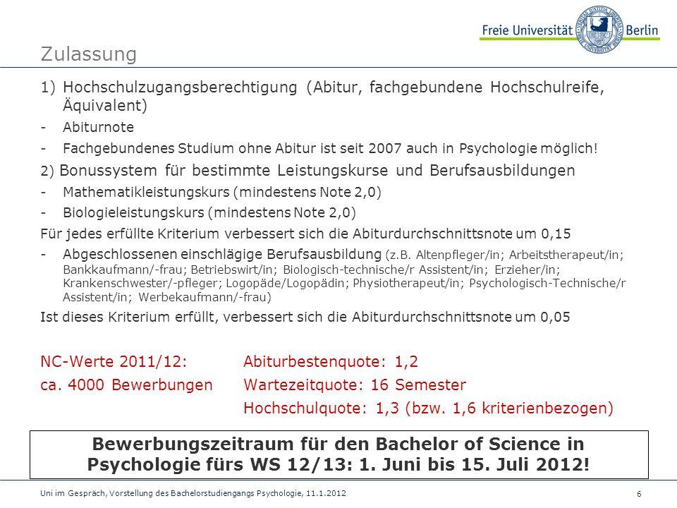 Zulassung Hochschulzugangsberechtigung (Abitur, fachgebundene Hochschulreife, Äquivalent) Abiturnote.