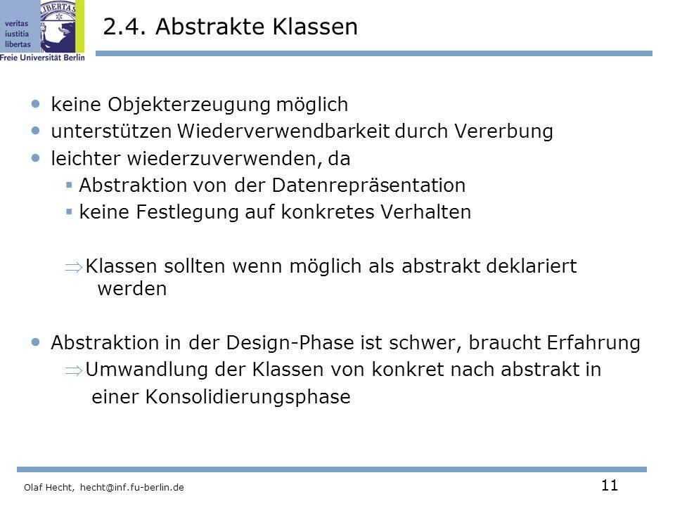 2.4. Abstrakte Klassen keine Objekterzeugung möglich