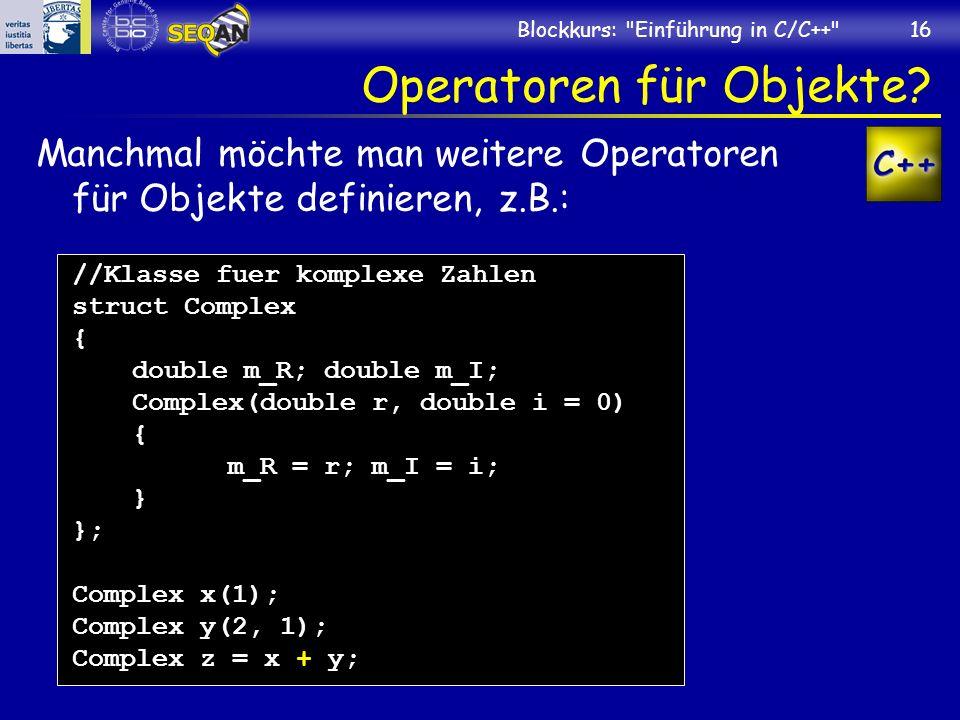 Operatoren für Objekte