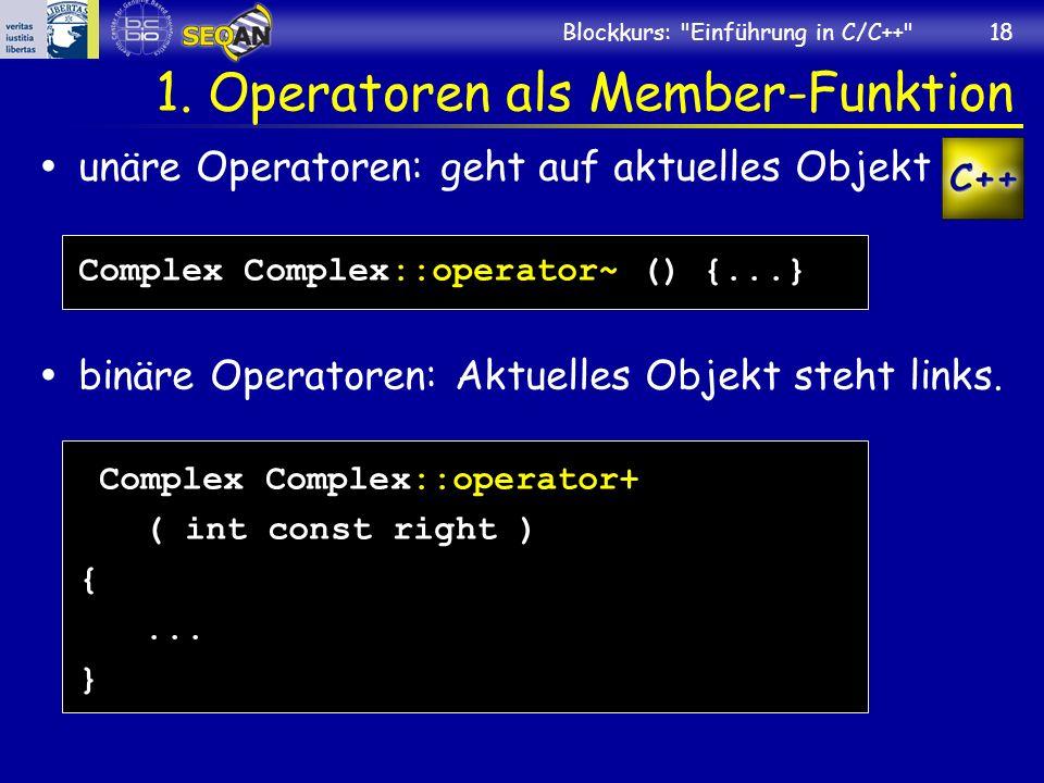 1. Operatoren als Member-Funktion