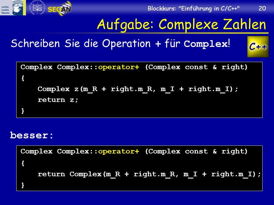 Aufgabe: Complexe Zahlen