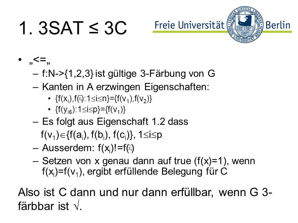 """1. 3SAT ≤ 3C """"<="""" f:N->{1,2,3} ist gültige 3-Färbung von G. Kanten in A erzwingen Eigenschaften: {f(xi),f( ):1in}={f(v1),f(v2)}"""