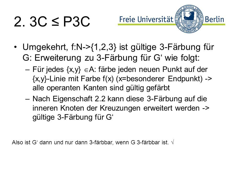 2. 3C ≤ P3C Umgekehrt, f:N->{1,2,3} ist gültige 3-Färbung für G: Erweiterung zu 3-Färbung für G' wie folgt: