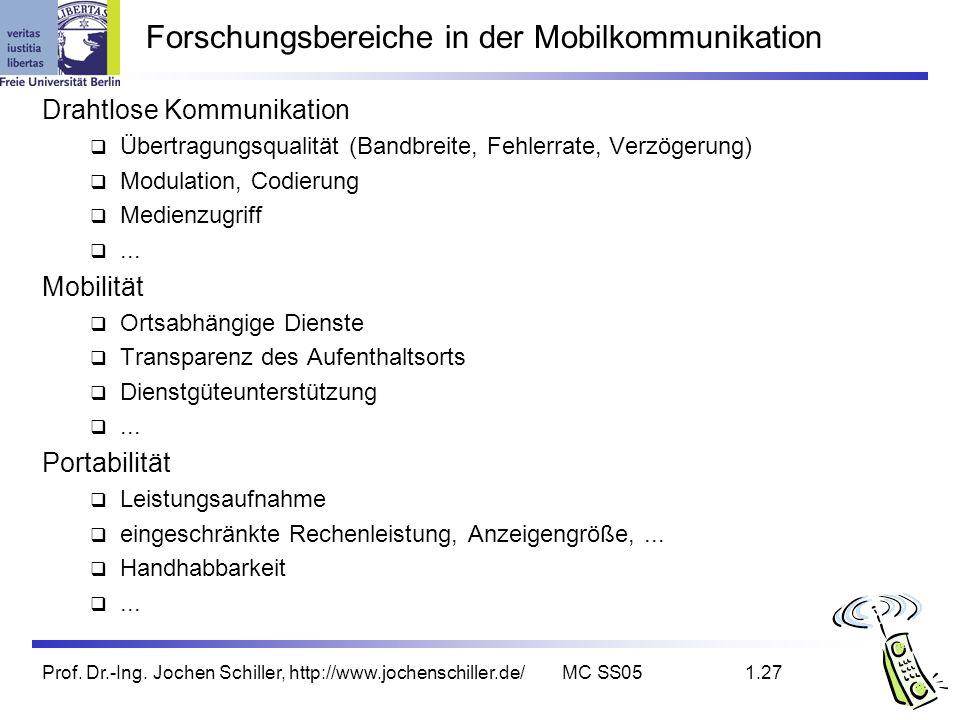 Forschungsbereiche in der Mobilkommunikation