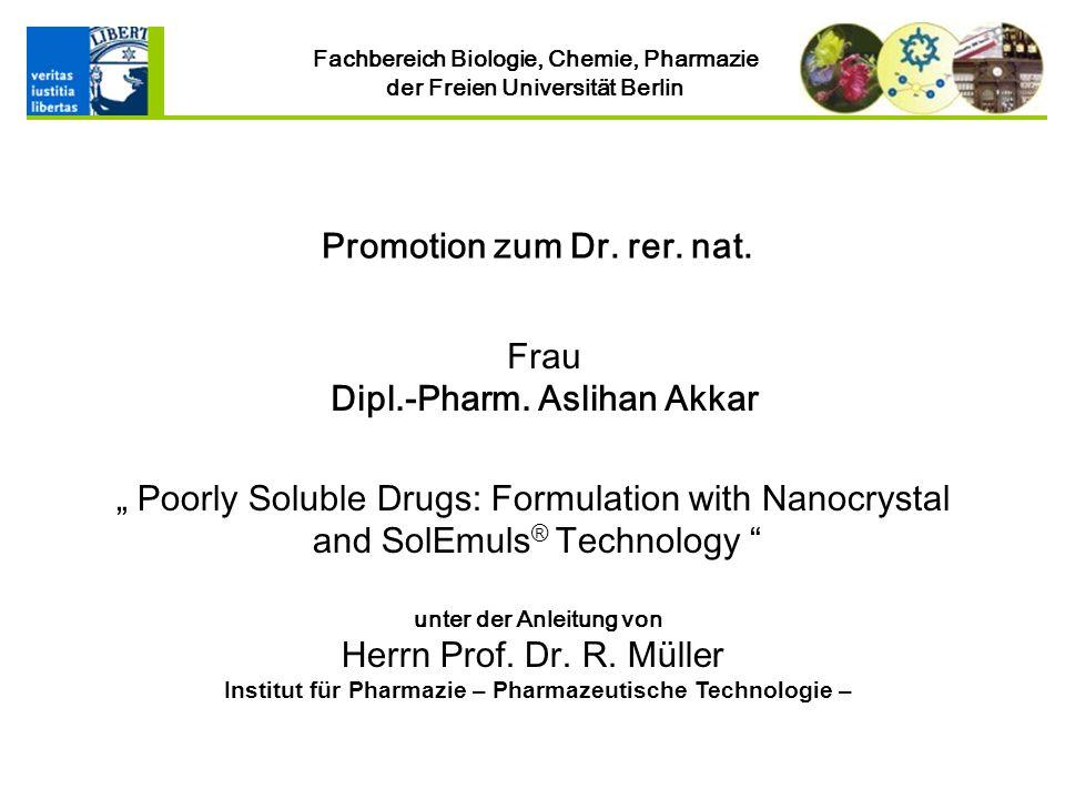 Institut für Pharmazie – Pharmazeutische Technologie –