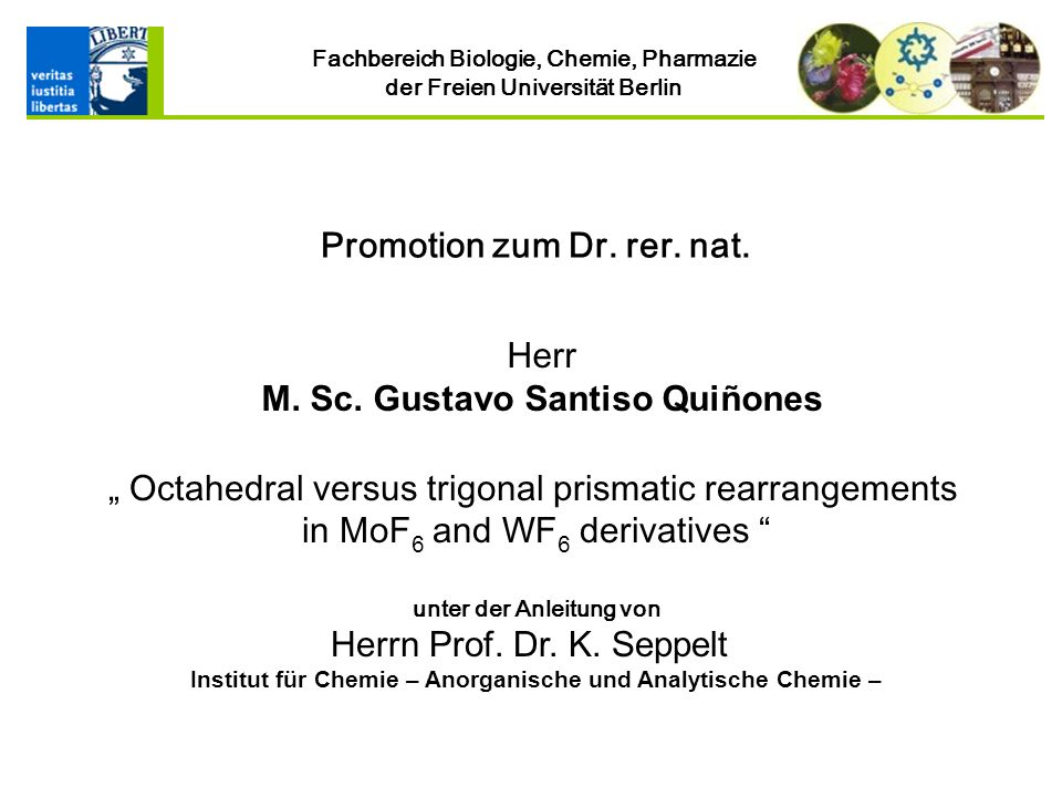 Institut für Chemie – Anorganische und Analytische Chemie –