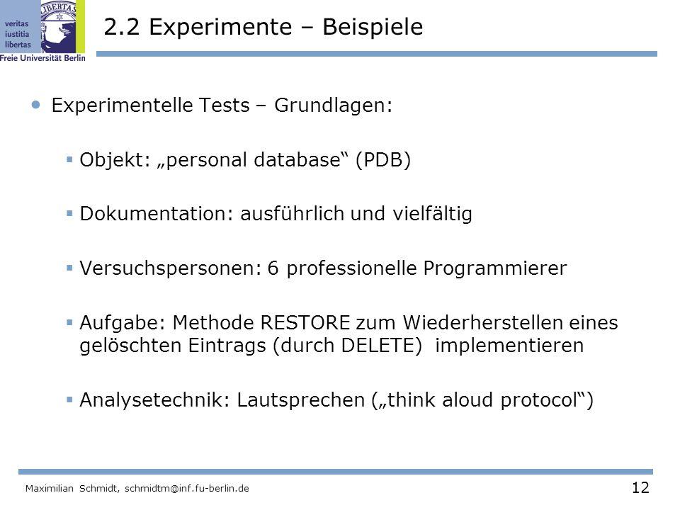 2.2 Experimente – Beispiele
