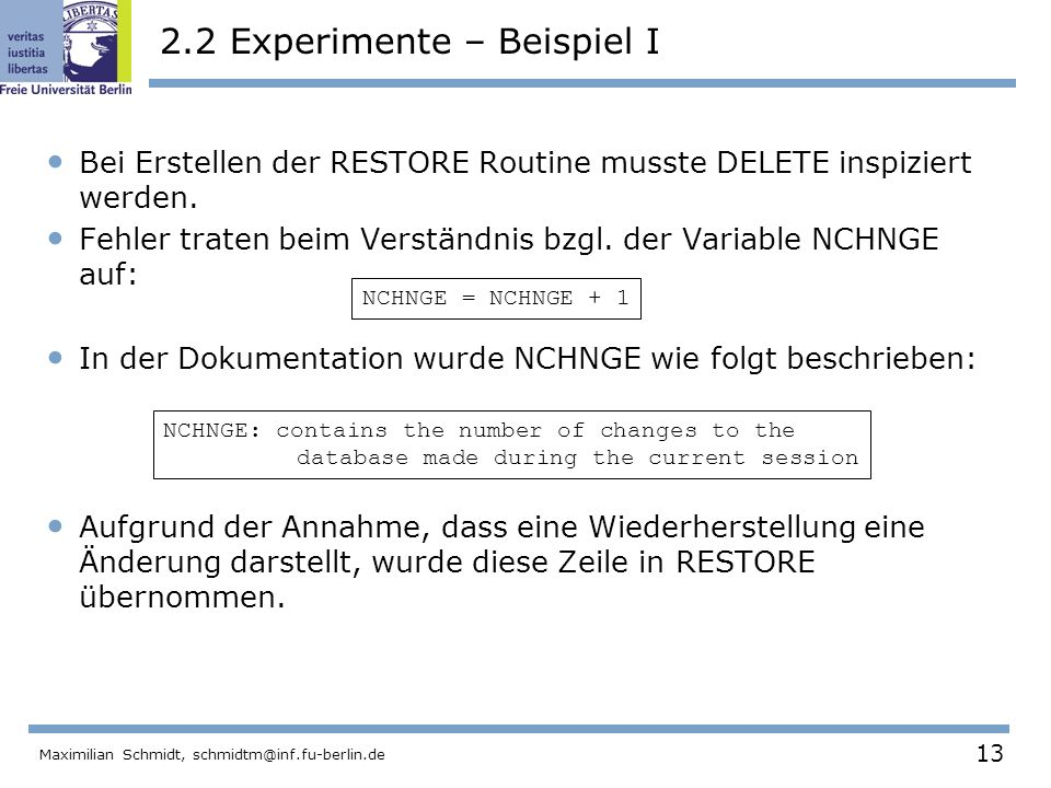 2.2 Experimente – Beispiel I