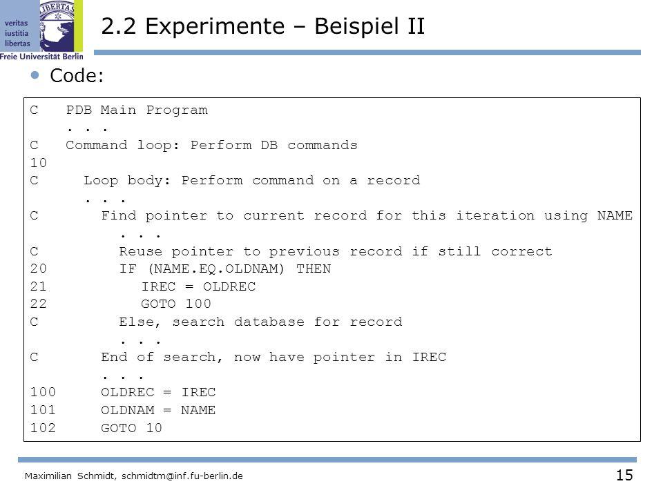 2.2 Experimente – Beispiel II