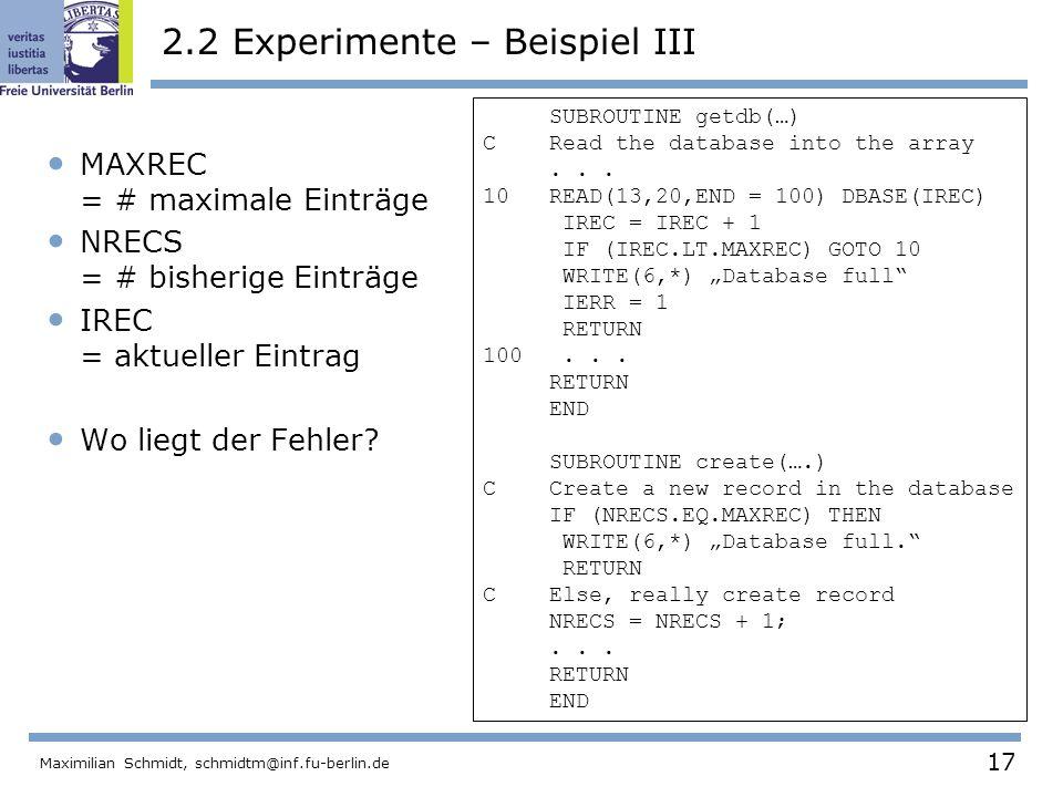 2.2 Experimente – Beispiel III
