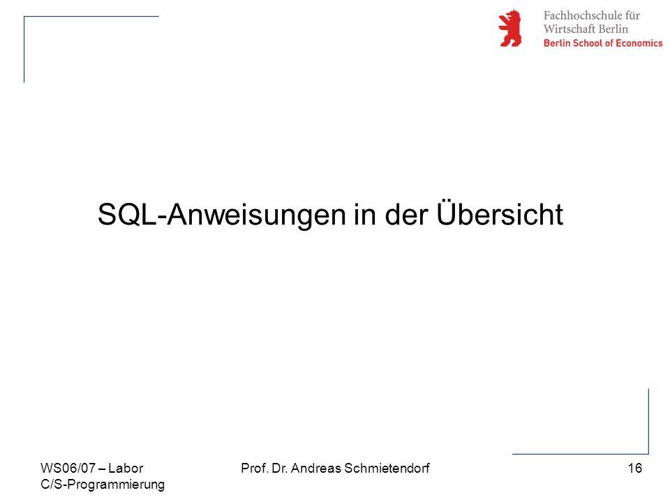 SQL-Anweisungen in der Übersicht