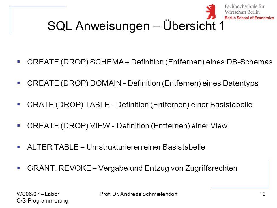 SQL Anweisungen – Übersicht 1