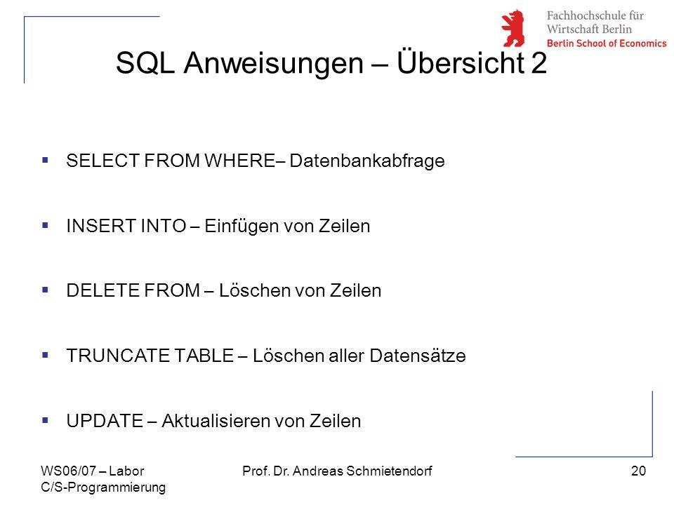 SQL Anweisungen – Übersicht 2