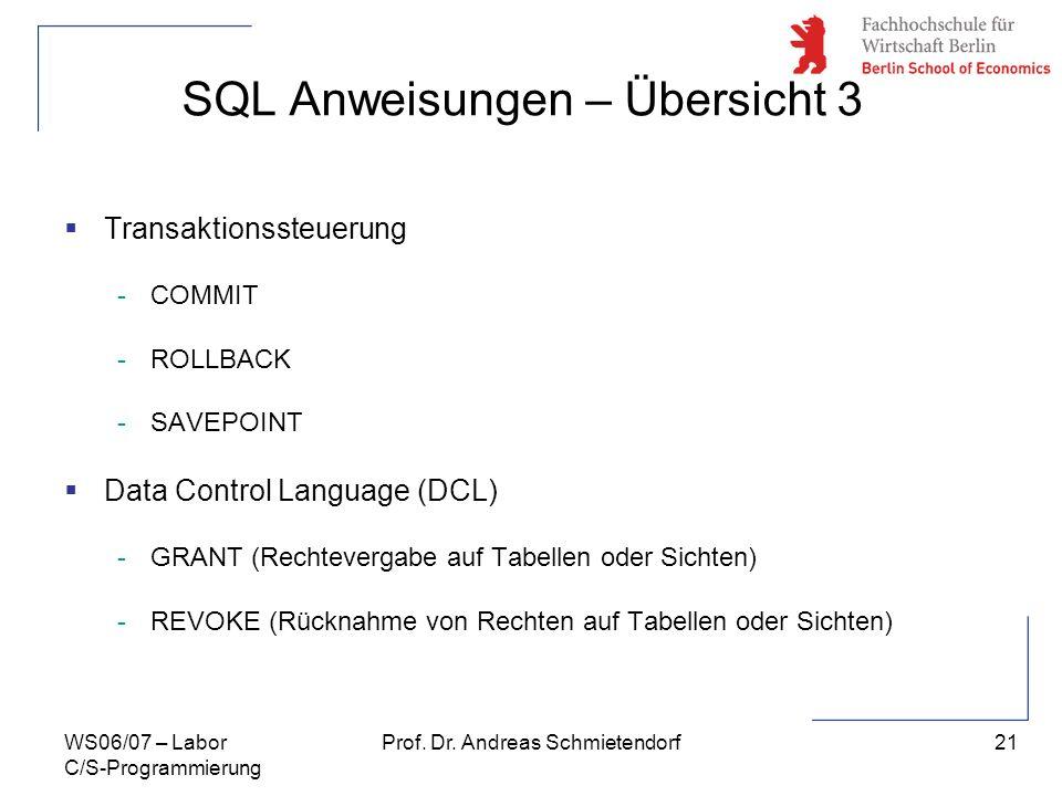 SQL Anweisungen – Übersicht 3