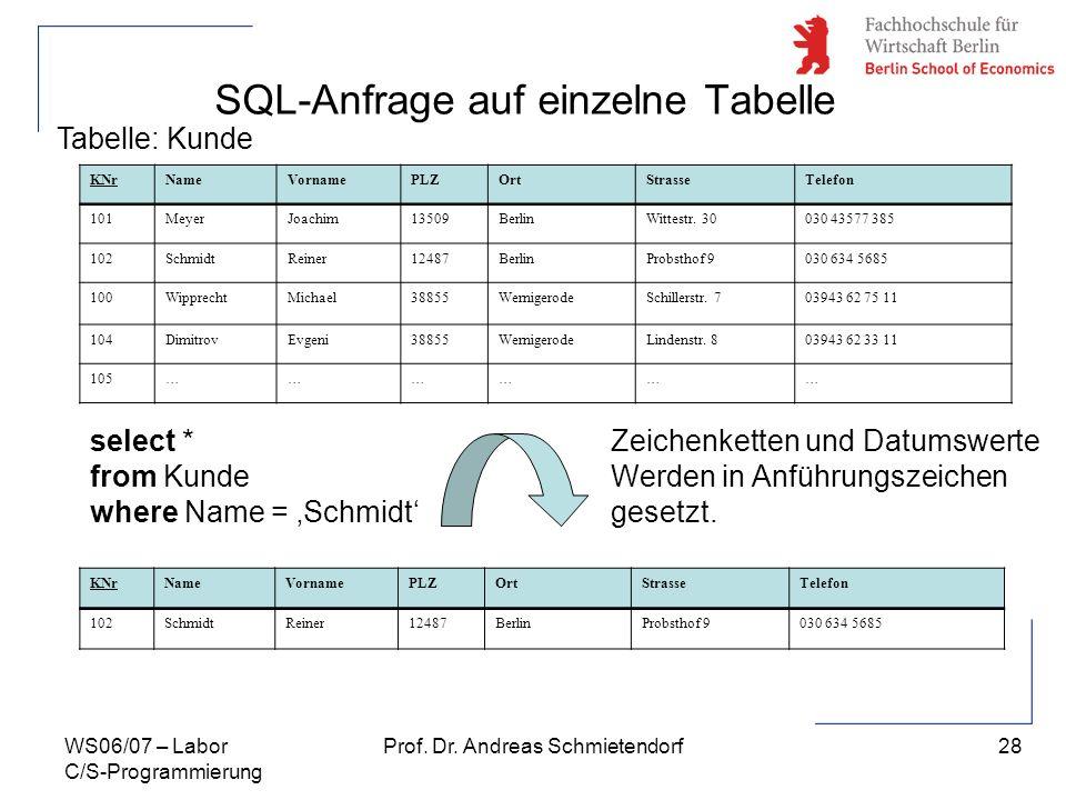 SQL-Anfrage auf einzelne Tabelle