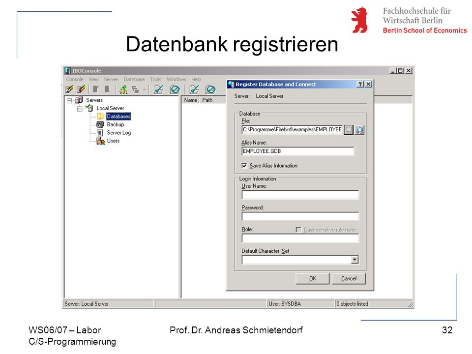 Datenbank registrieren