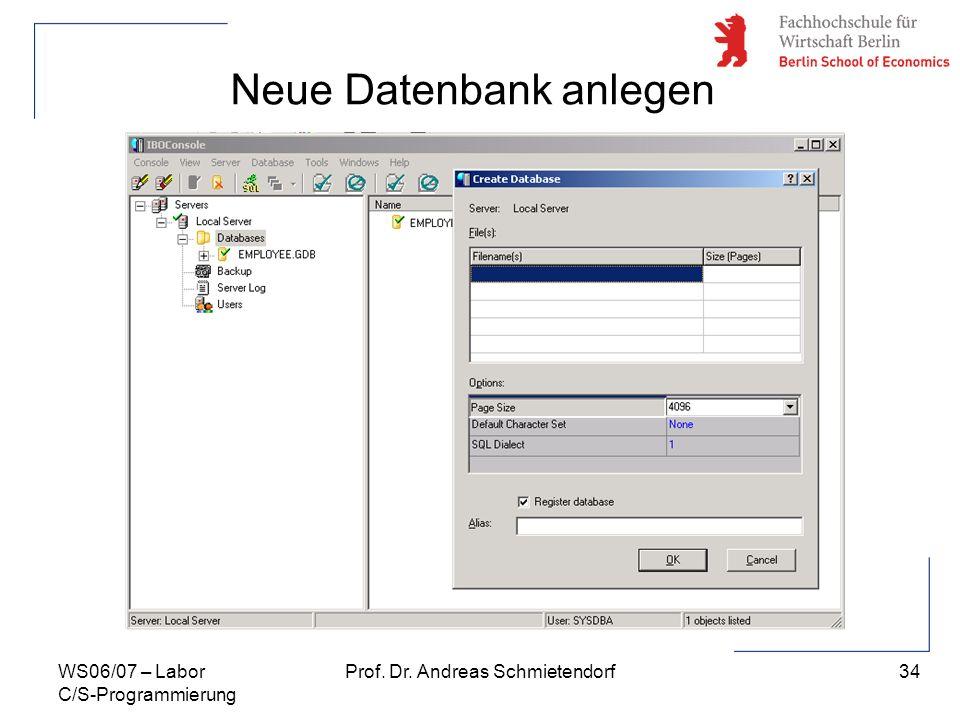 Neue Datenbank anlegen