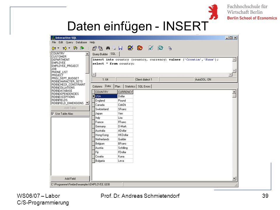 Daten einfügen - INSERT