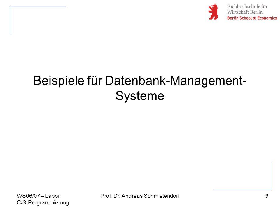 Beispiele für Datenbank-Management-Systeme
