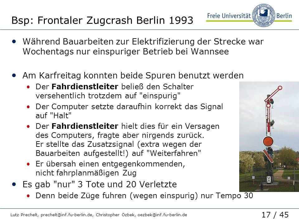 Bsp: Frontaler Zugcrash Berlin 1993