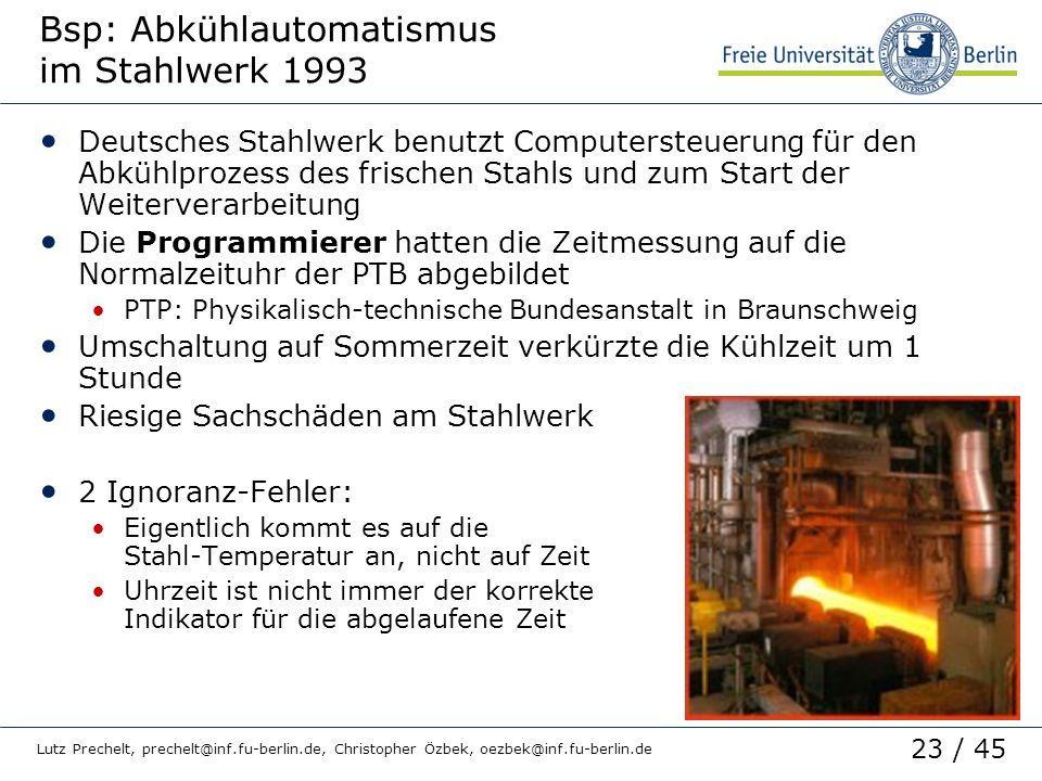 Bsp: Abkühlautomatismus im Stahlwerk 1993