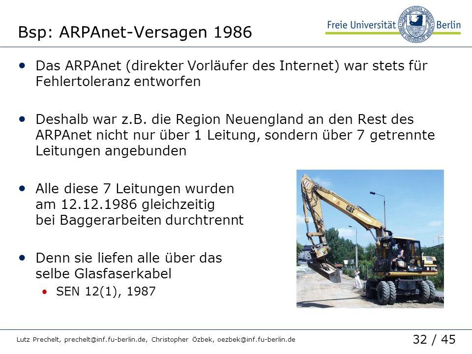 Bsp: ARPAnet-Versagen 1986