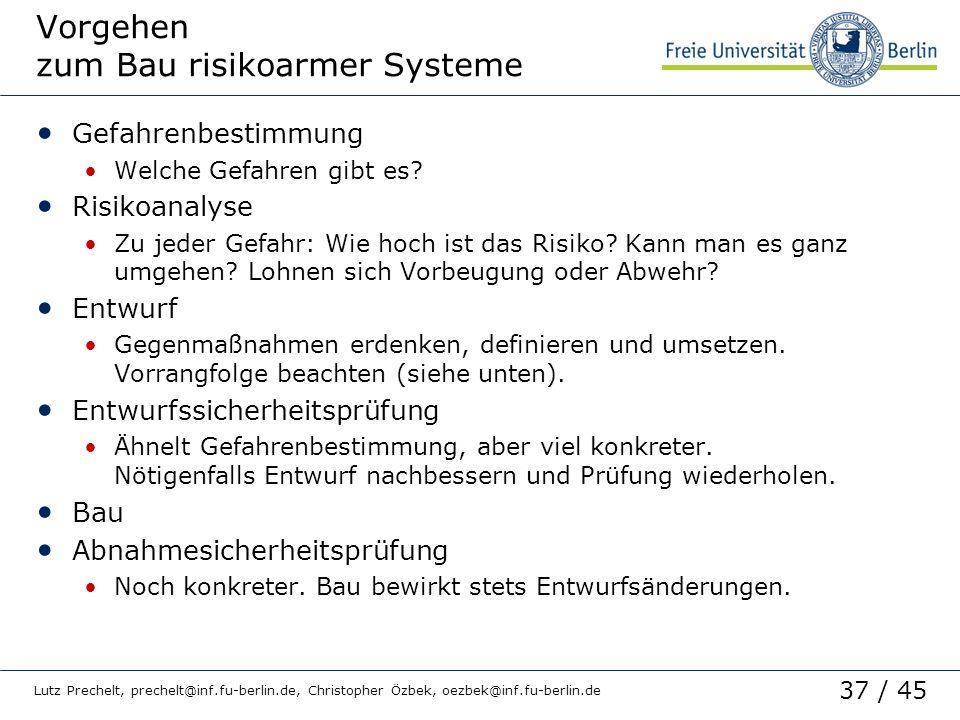 Vorgehen zum Bau risikoarmer Systeme